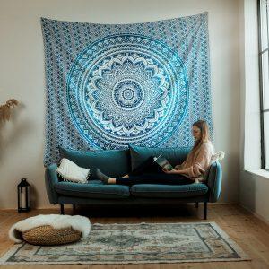 Blue Ombre Mandala Falvédő